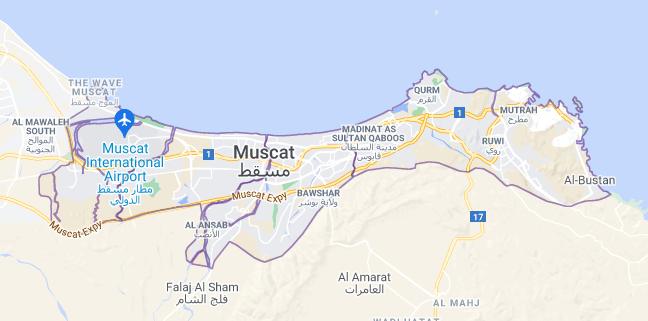 Map of Oman Muscat