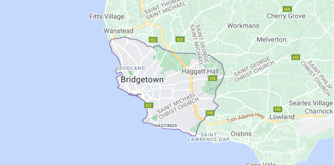 Map of Barbados Bridgetown