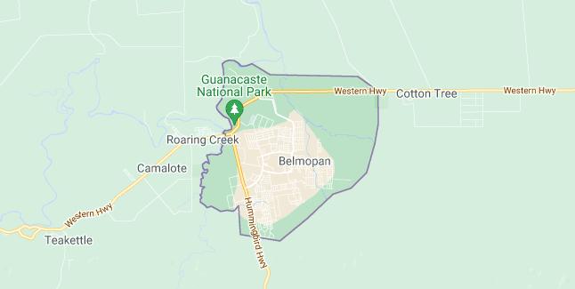 Map of Belize Belmopan