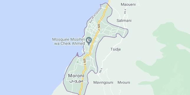Map of Comoros Moroni