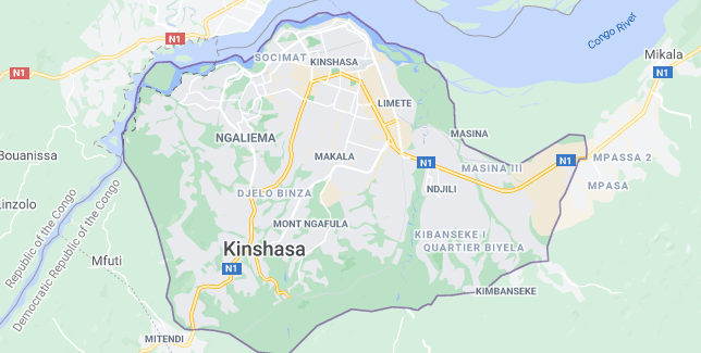 Map of Democratic Republic of the Congo Kinshasa
