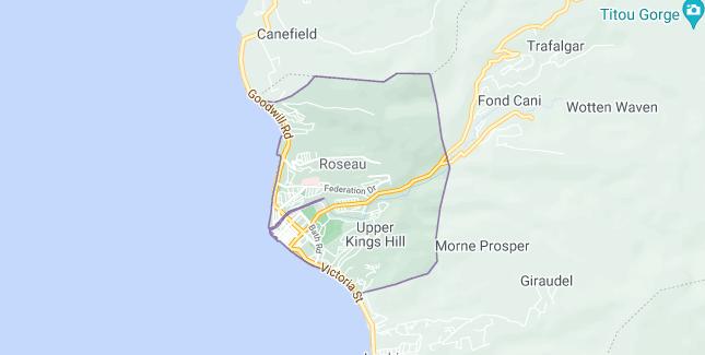 Map of Dominica Roseau