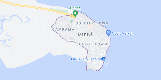 Map of Gambia Banjul