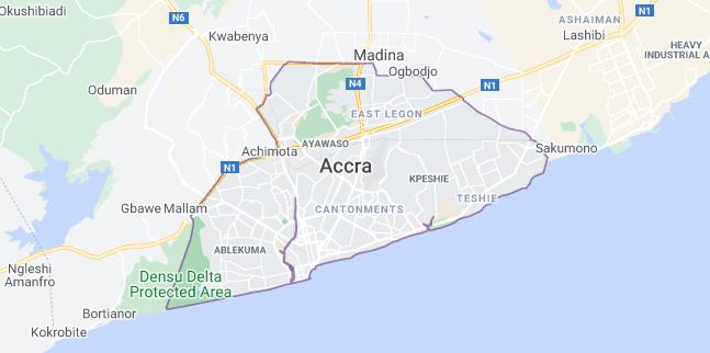 Map of Ghana Accra