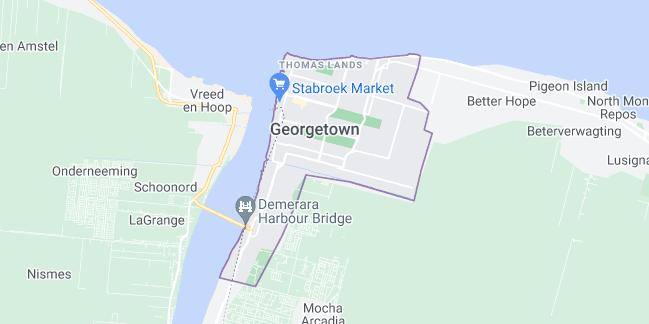 Map of Guyana Georgetown