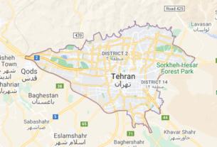 Map of Iran Tehran