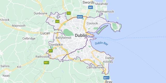 Map of Ireland Dublin