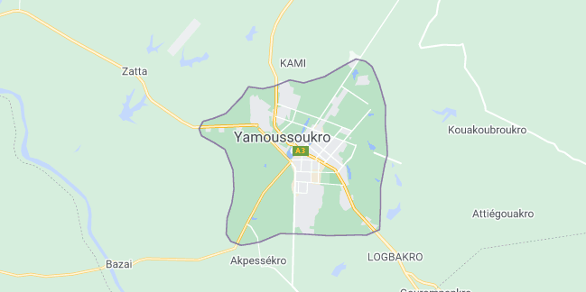 Map of Ivory Coast Yamoussoukro