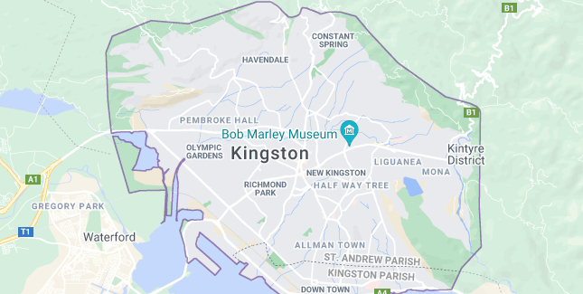 Map of Jamaica Kingston