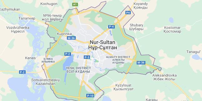 Map of Kazakhstan Nur-Sultan