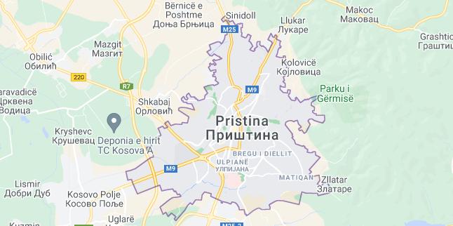 Map of Kosovo Pristina