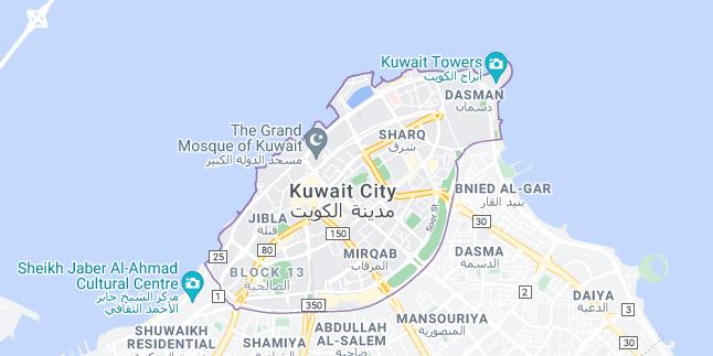 Map of Kuwait Kuwait City