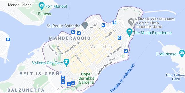 Map of Malta Valletta