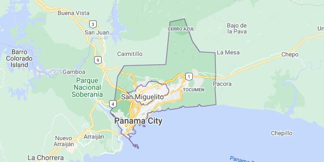 Map of Panama Panama City