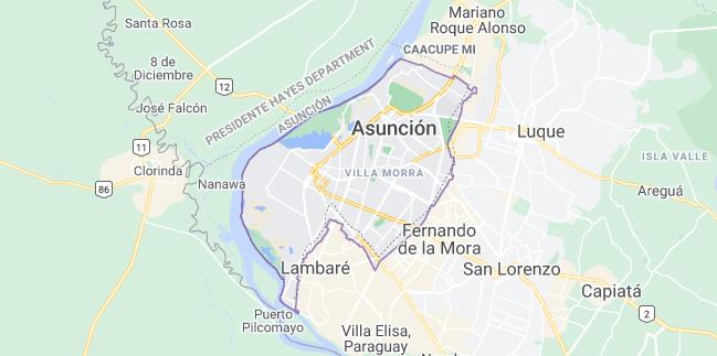 Map of Paraguay Asuncion