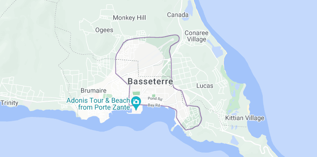 Map of Saint Kitts and Nevis Basseterre