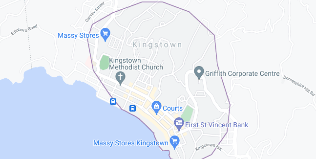 Map of Saint Vincent and the Grenadines Kingstown