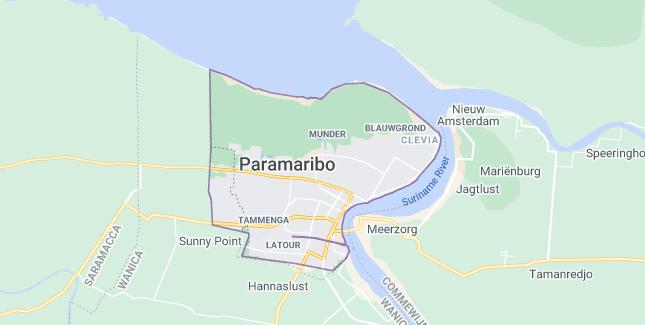 Map of Suriname Paramaribo