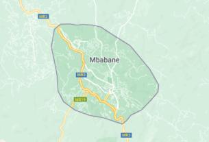Map of Swaziland Mbabana