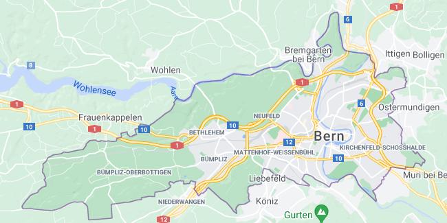 Map of Switzerland Bern