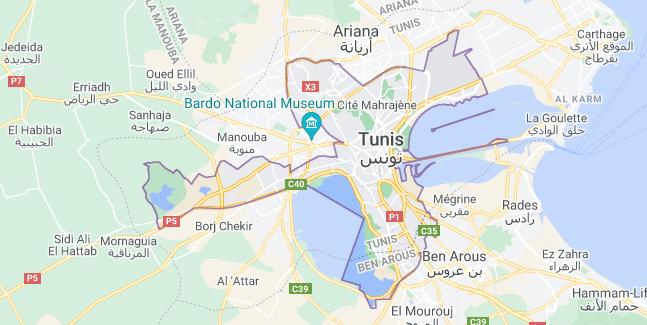 Map of Tunisia Tunis