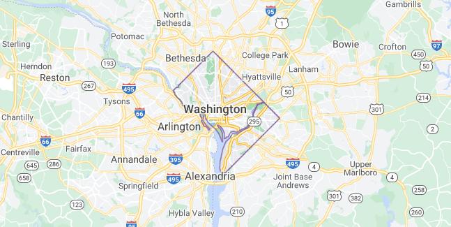 Map of United States Washington D.C.