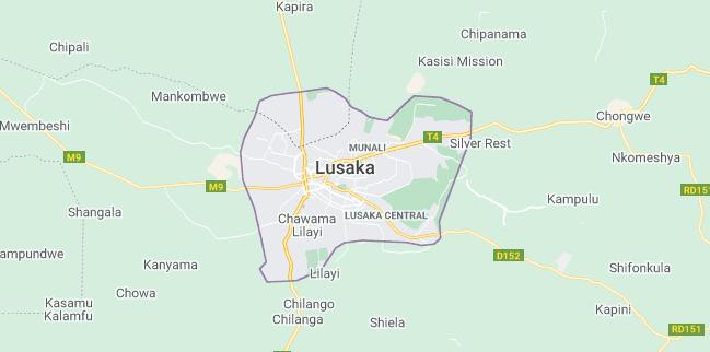 Map of Zambia Lusaka