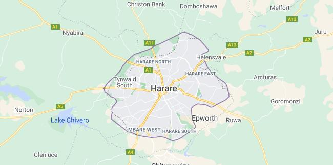 Map of Zimbabwe Harare